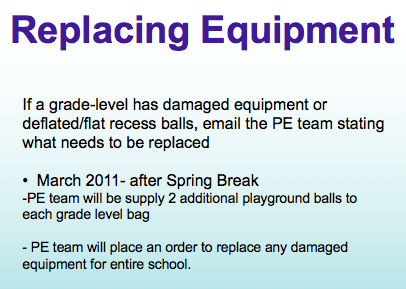 Replacing Equipment