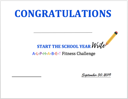 Back to School Certificate Screen